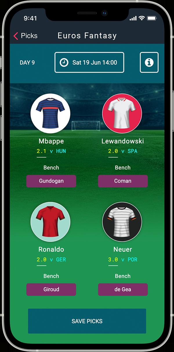 Screenshot of Euro 2020 Fantasy